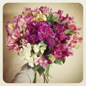 真夜中の花束 芍薬、アルストロメリア